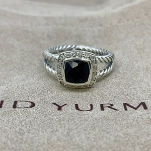 David Yurman Petite Albion Ring Black Onyx Diamond